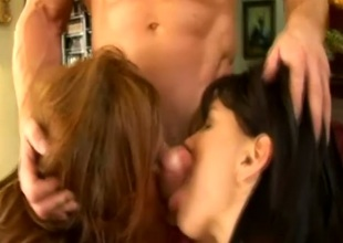 Dirty-minded brunette hair whores desire to engulf corpulent adorable knob of fortunate dude