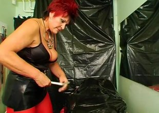 Redhead milf pokes her fingers in her female mate's slit roughly