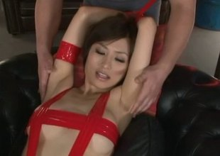 Thraldom loving Japanese MILF gets used by a group of fellows
