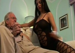 Gorgeous brunette in deathly lucubrate Cory Everson would love to ride old man's dick