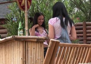 At a resort those cuties have lesbo sex at the tiki bar