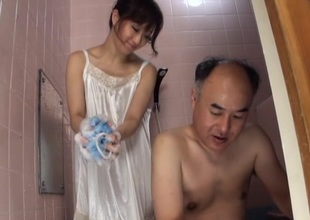 Japanese Dark brown performs nice blowjob to her hubby in shower