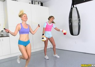 Two sweethearts work out hitting the heavy bag then hitting that pussy