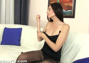 Horny brunette babe toying and fingering her cunt and a-hole