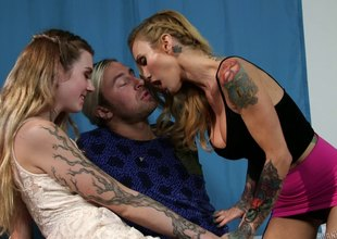 Blondes with tons of tattoos share his rock hard fuck go after
