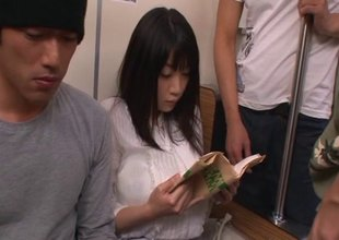 Guys on the motor coach fondle and mouth fuck a sweet Japanese girl
