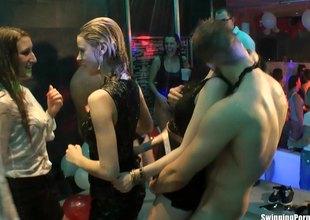 Hardcore sex with cock sucking bimbos in a nightclub