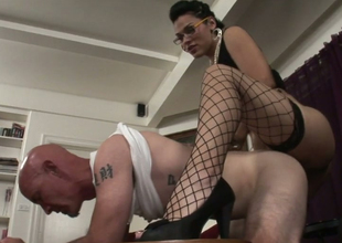 Bald dude Smith  gets his ass hole drilled by sassy tranny Gaby B