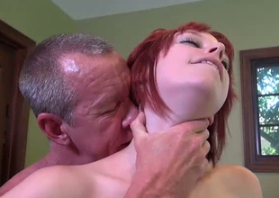 Redhead cock engulfing old bag blows dick of a mature freak