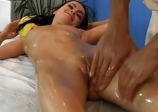 juvenile dark brown fucked during a massage