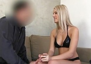 FakeAgent Golden-haired babe gets spunk shower
