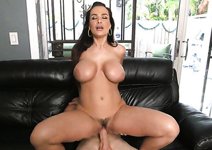 Brunette Lisa Ann with bubbly booty has a nice time jerking chap off