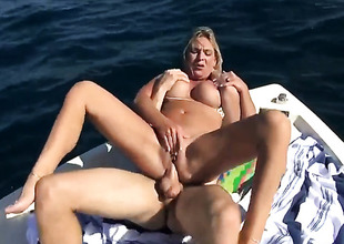 Blonde with huge hooters and clean twat is skilled enough to make guy cum anew and anew