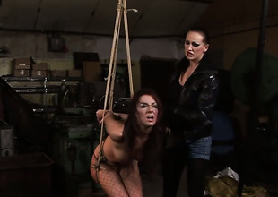 Brunette Maria Bellucci with soaked hooters is in the mood for lesbo sex and spreads for Mandy Bright