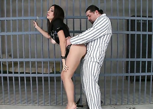 Dark brown Eloa Lombard with large breasts and sexy man are two sex addicts that make each other pleased in hardcore sex action