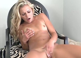 Lena Nicole with small breasts and glabrous snatch is on the way to orgasm in solo scene