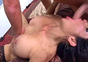 Tara Holiday is a big titted ho step-mom on fire. Ardent big titted woman with juicy plump gazoo gets her soaking wet cum-hole fucked hard on a double size daybed by favourable dude Van Wylde.