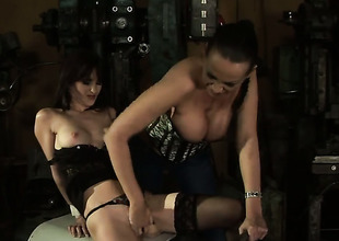 Brunette teem Aleksandra Black with soaked knockers is in heaven doing it with hawt lesbo Mandy Bright
