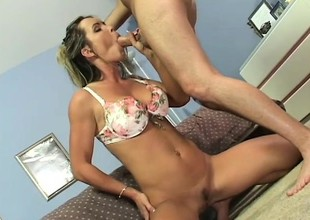 Blond mom, Envy, eats his meat and gets drilled from behind