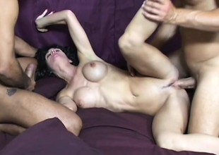Breasty MILF enjoys having her holes nicked apart in hardcore threesome