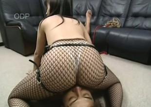 Pulchritudinous Asian Mayu nearly gags on this throbbing long dick
