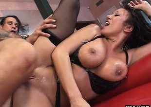 Busty Asian boss in black lingerie Ava Devine likes to get fucked coarse
