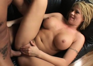 Large breasted golden-haired Brooke Haven passionately bounces on a stiff shlong