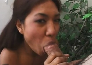 Sweet Oriental babe gets her butt hole pounded hard and filled with cum