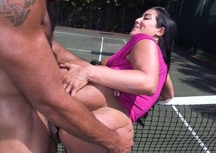 Fit man fucks his large dick into the tight cunt of a hot Latin babe slut