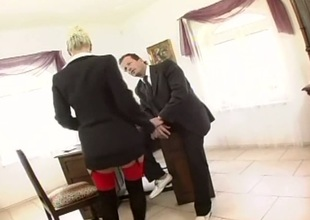 Busty secretary analed in stockings