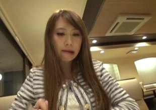Cute Japanese hotty gives a beautiful blowjob to a stranger