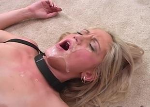 Breasty blonde giving big black shaft fellatio before getting her anal being banged hardcore