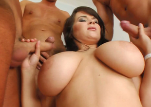 Brunette hair bitch with large boobs Kristi nailed hard in gang bang