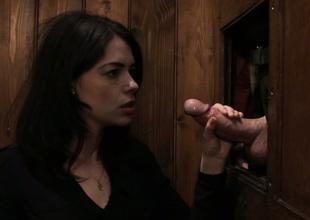 Sassy dark brown harlot Ava Dalush copulates a priest in the confessional