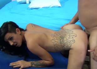 Charming brunette teem gal Aimee Black gets banged in doggy style