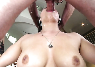 Busty Noelle Easton is engulfing dick