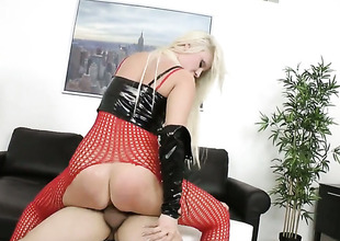 Blonde satisfies her raunchy desires with dudes vertical meat pole in her cunt hole