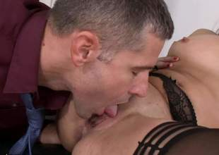 Office hotty Kristall Rush in black nylons exposes her tiny nipples and trimmed bush as her horny as hell co-worker drills her attenuated vagina with his rock solid cock. Shes so hot!