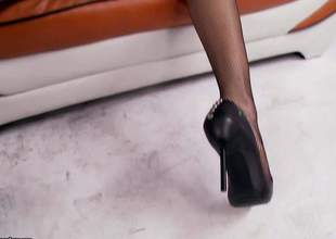Lovely brunette Anna Morna in high heel shoes pulls her black panties aside and gets her splendidly trimmed fur pie permeated from behind. This small titty doll can't live without balls unfathomable fur pie pounding!