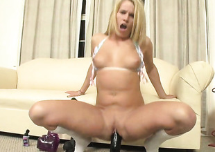 Aiden Aspen finds herself horny and takes dildo in her vagina with wild excitement