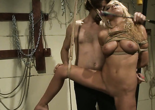 Blonde gets her mouth improbable by powerful hard love stick of sexy guy