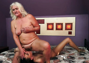 Flaxen-haired with big knockers spends her raunchy energy with lesbo Lyen Parker