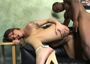 Big breasted mama Kayla has a huge black dick exploring her soaked holes