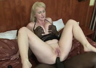 Monik opens her arsehole with a big toy before Joachim's cock arrives