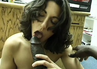 Luscious brunette hair drops to her knees and worships a huge deathly stick