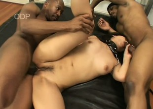 Naughty Japanese girl has two treacherous guys roughly stretching her holes