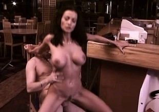 Enticing brunette with big hooters Rumika gets fucked by the bartender