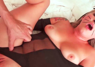 Sexy kitten is filmed as she does it doggy style here