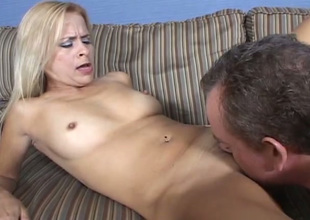 Gaffer pallid auburn lady gives BJ and rides dick after getting pussy eaten