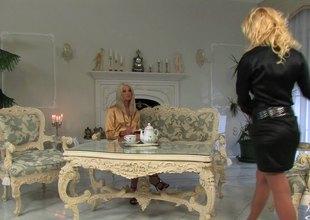 Blonde lesbian babes have some tea then finger slam each other